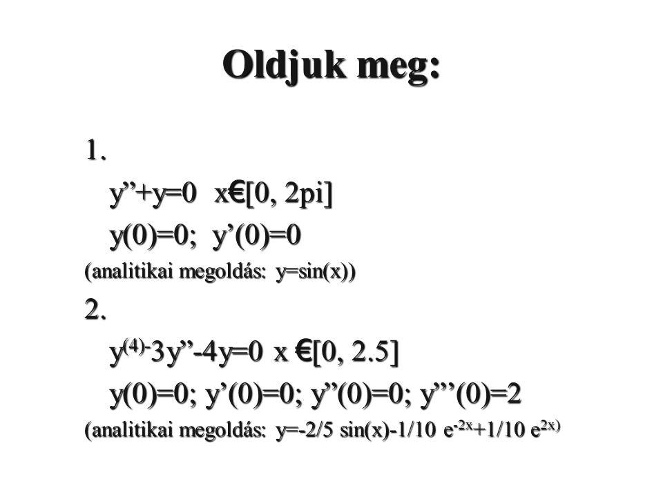 Oldjuk meg: 1. y +y=0 x€[0, 2pi] y(0)=0; y'(0)=0 2.